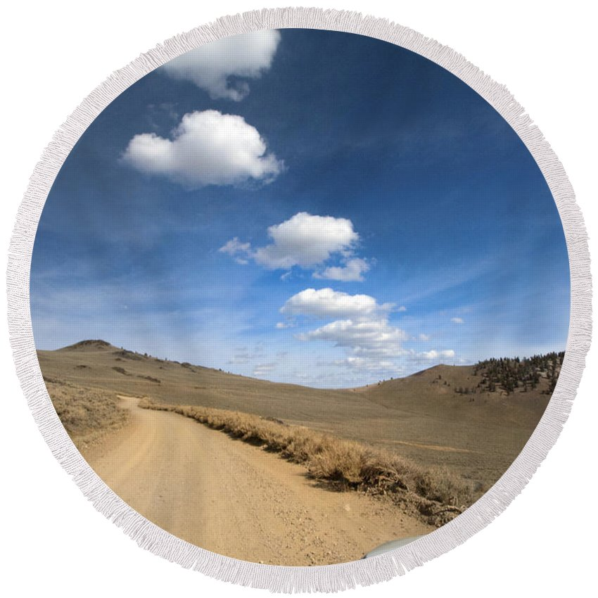 White Mountains Round Beach Towel featuring the photograph Signals ... Along The Bristlecone Pine Highway, White Mountains, California. by Joe Schofield