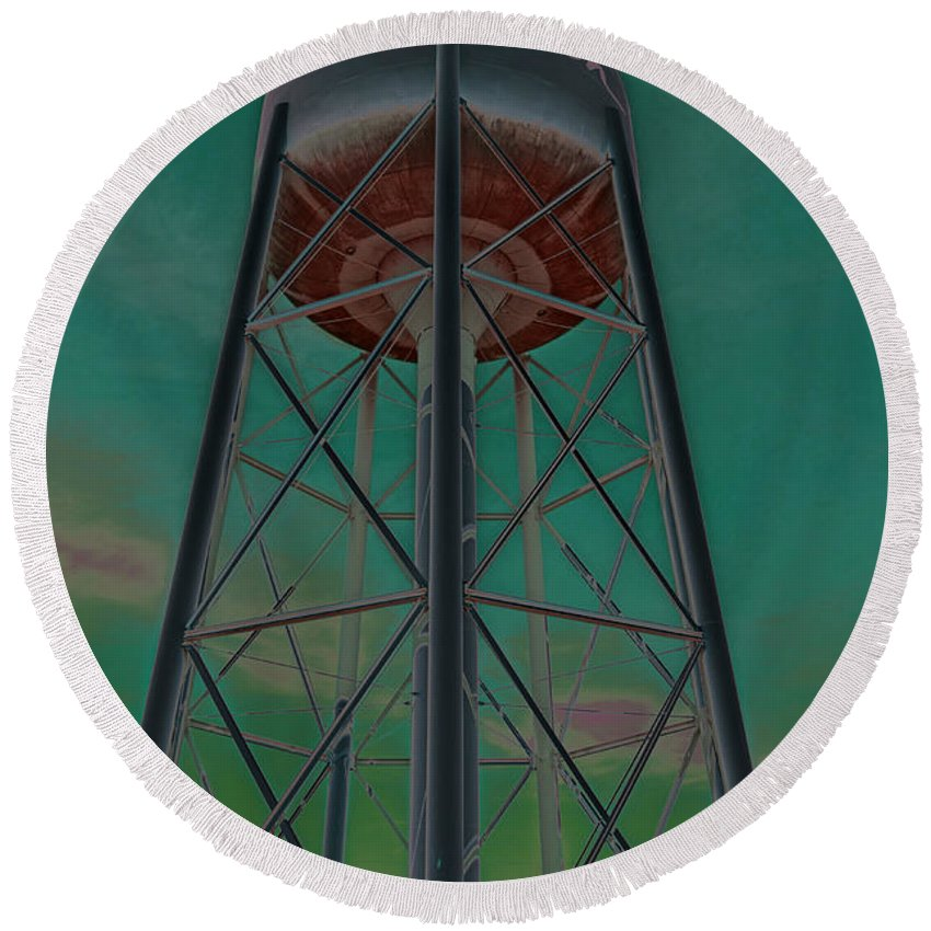 Water Tower Round Beach Towel featuring the photograph Sikeston Water Tower IIi by Debbie Portwood
