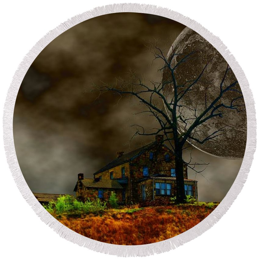 Eerie Round Beach Towel featuring the photograph Silent Hill 2 by Dan Stone