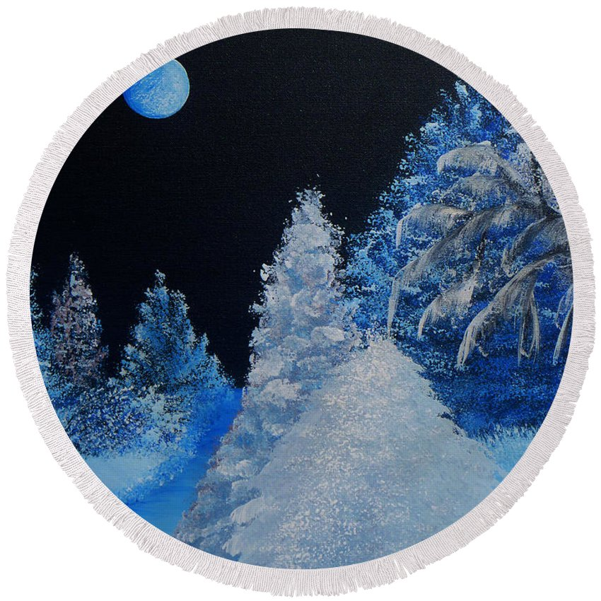 Silent Night Round Beach Towel featuring the painting Silent Night by Alys Caviness-Gober