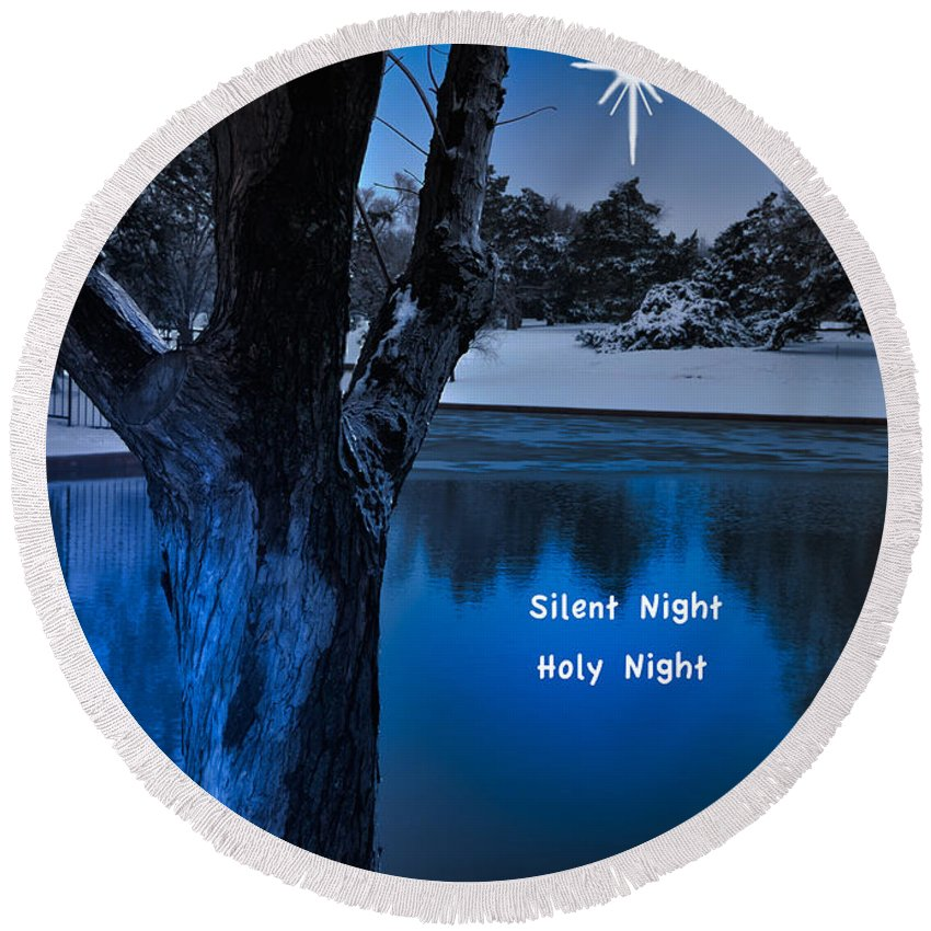 Landscape Round Beach Towel featuring the photograph Silent Night by Betty LaRue