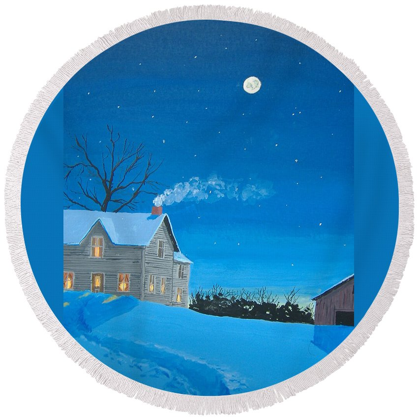 Winter Round Beach Towel featuring the painting Silent Night by Norm Starks