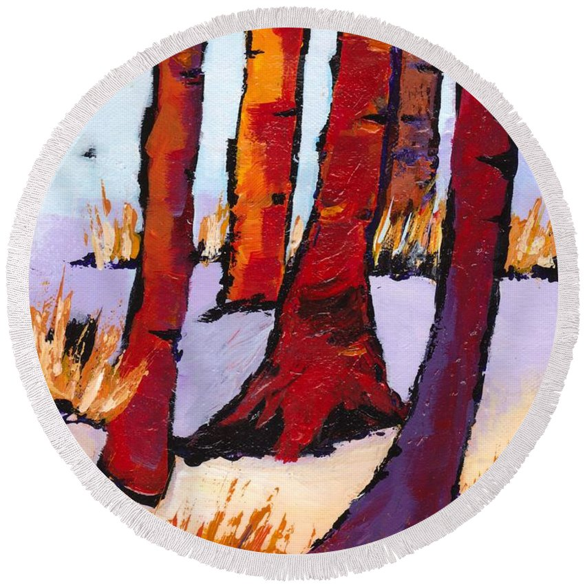 Tree Round Beach Towel featuring the painting Silent Woods by Sole Avaria
