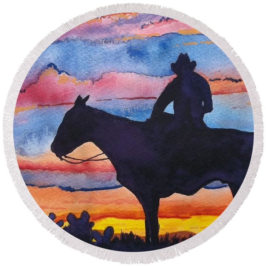 Bright Colors Round Beach Towel featuring the painting Silhouette Cowboy by Don Hand