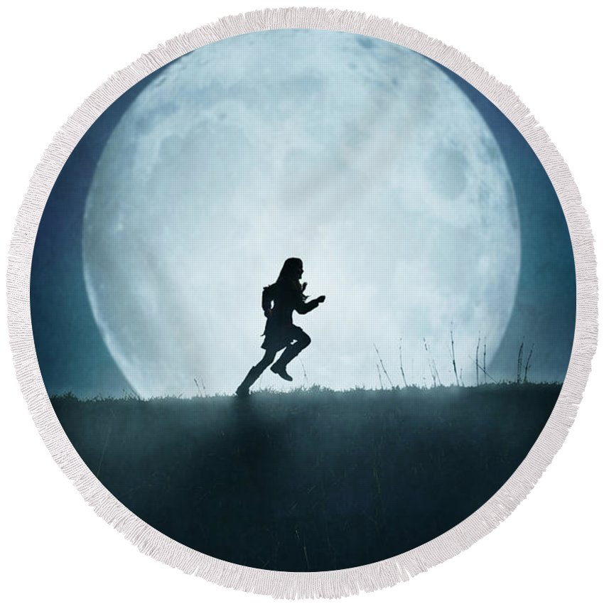 Girl Round Beach Towel featuring the photograph Silhouette Of Girl Running Against Full Moon by Lee Avison