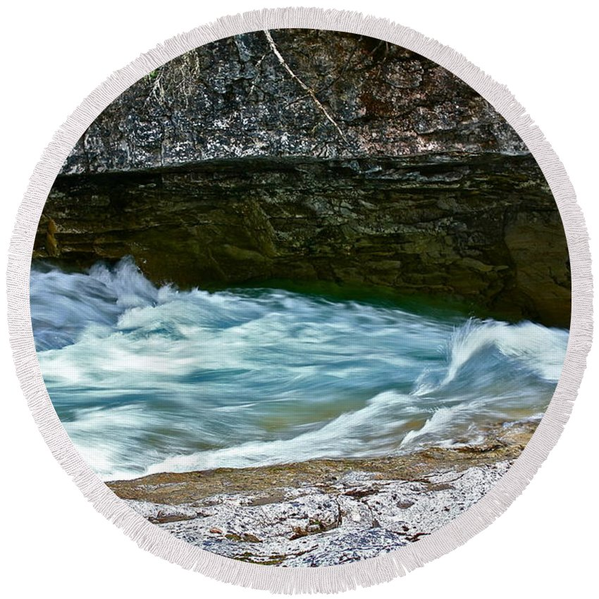 Water Round Beach Towel featuring the photograph Silky Flow by Linda Bianic