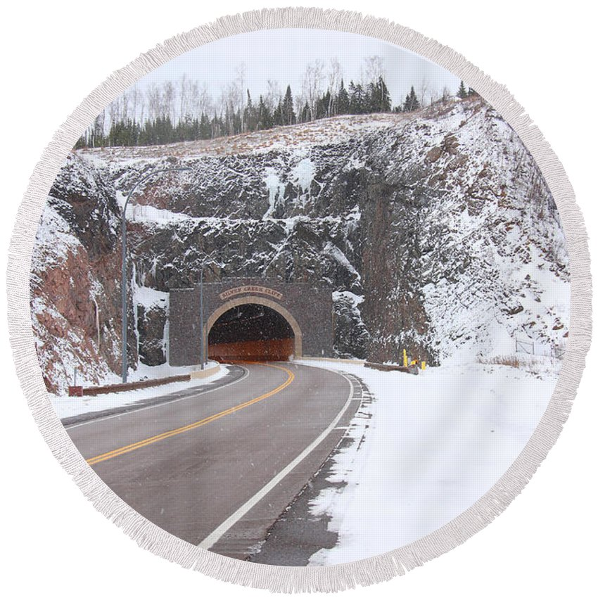 Road Round Beach Towel featuring the photograph Silver Creek Cliff Tunnel Winter 1 by John Brueske