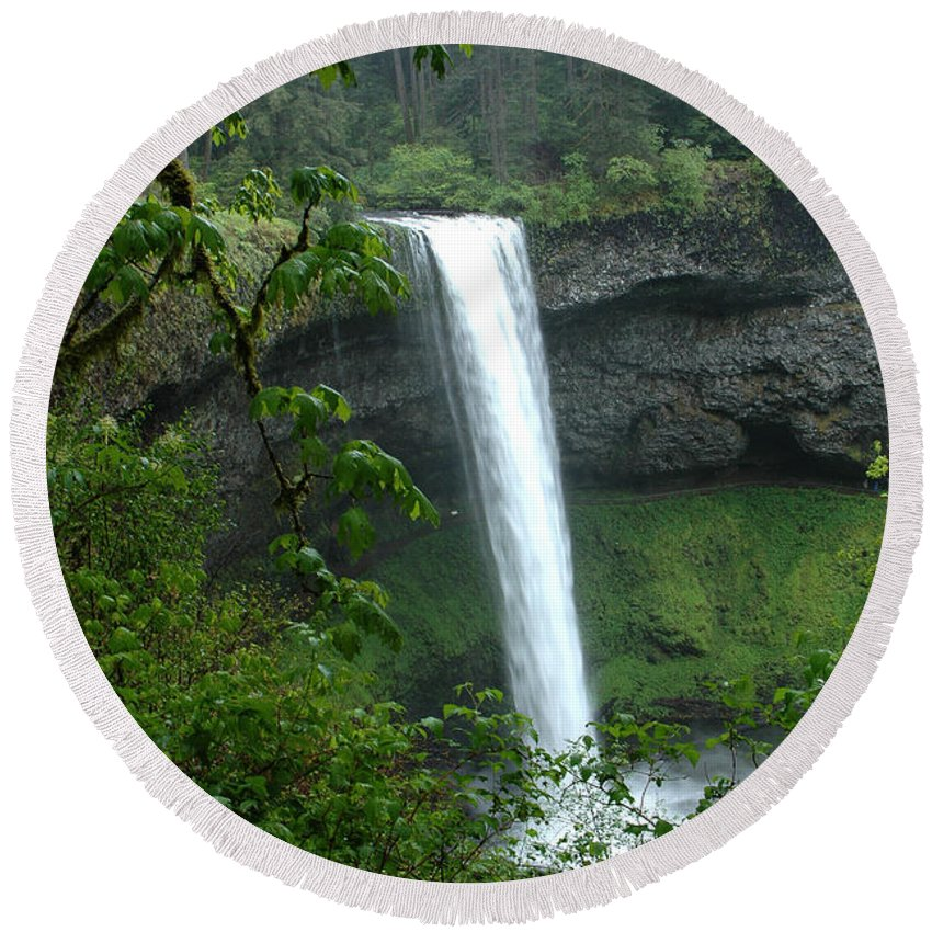 Silver Falls Round Beach Towel featuring the photograph Silver Falls 1 In Oregon by Mike Nellums