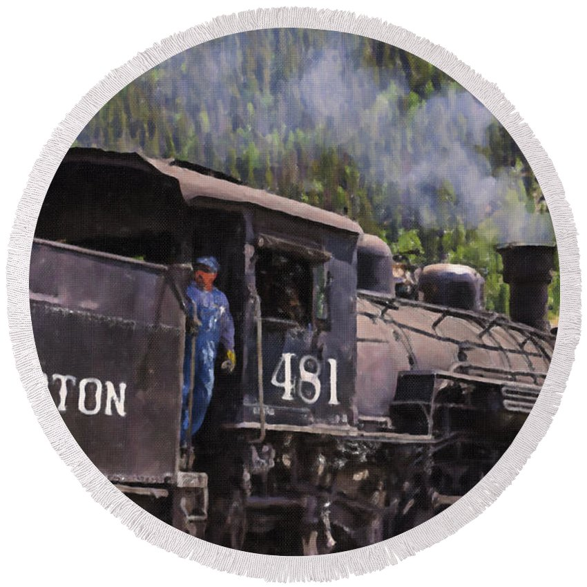 Steam Round Beach Towel featuring the painting Silverton Engine 481 by Janice Pariza