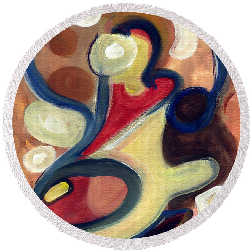 Abstract Art Round Beach Towel featuring the painting Simple Beauty by Stephen Lucas