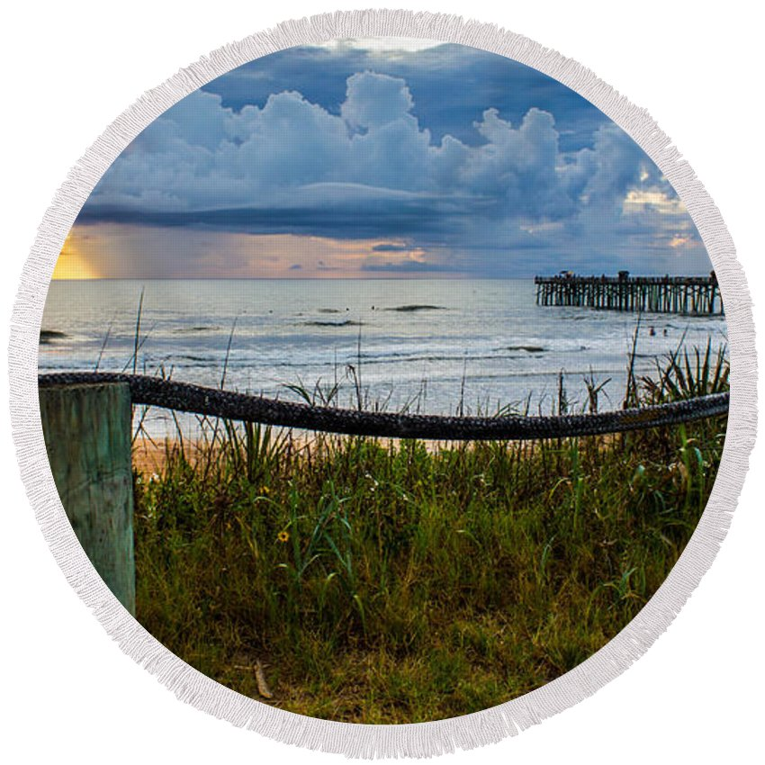 Round Beach Towel featuring the photograph Simple Flager by Tyson Kinnison