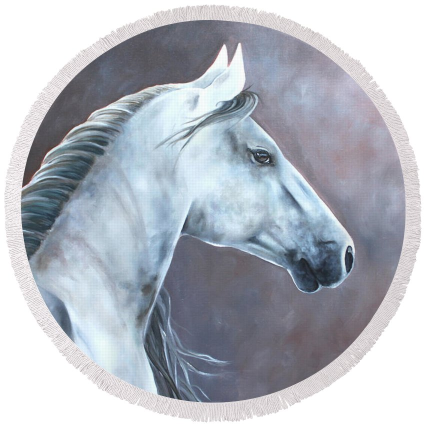 White Horse Round Beach Towel featuring the painting Simplicity by Debbie Hart