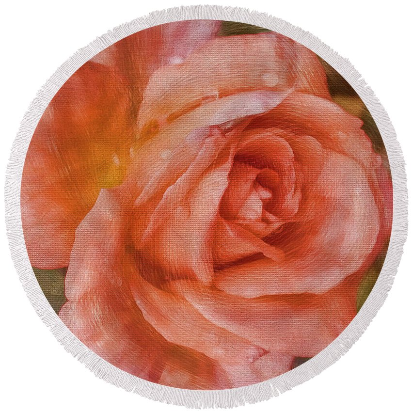Rose Round Beach Towel featuring the photograph Simply A Rose by Deborah Benoit