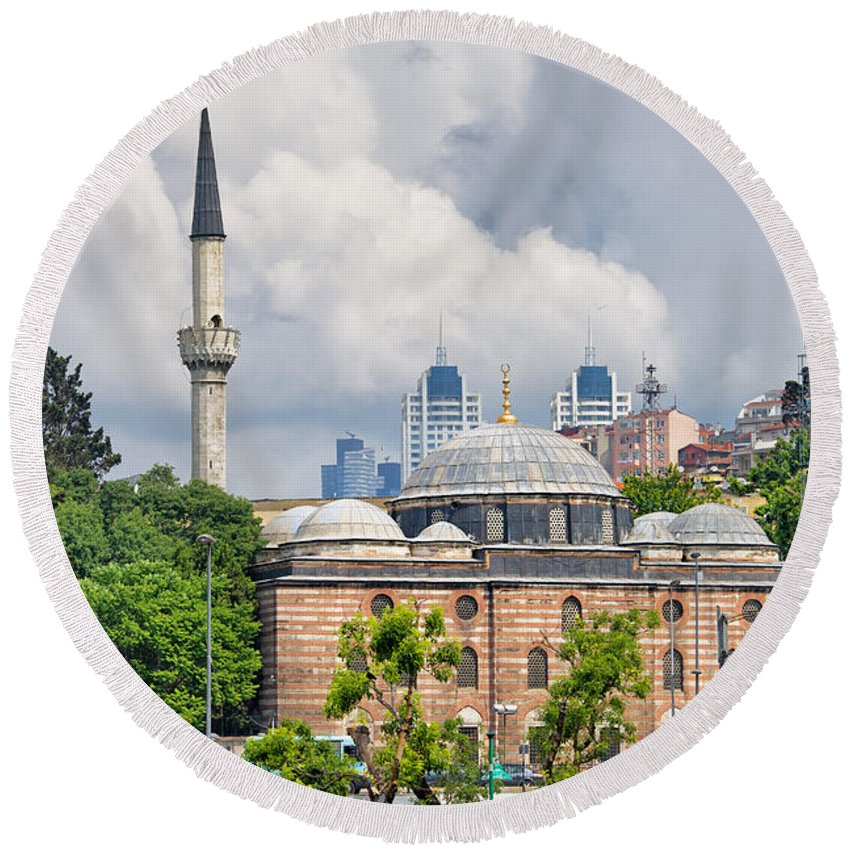 Sinan Round Beach Towel featuring the photograph Sinan Pasha Mosque In Istanbul by Artur Bogacki