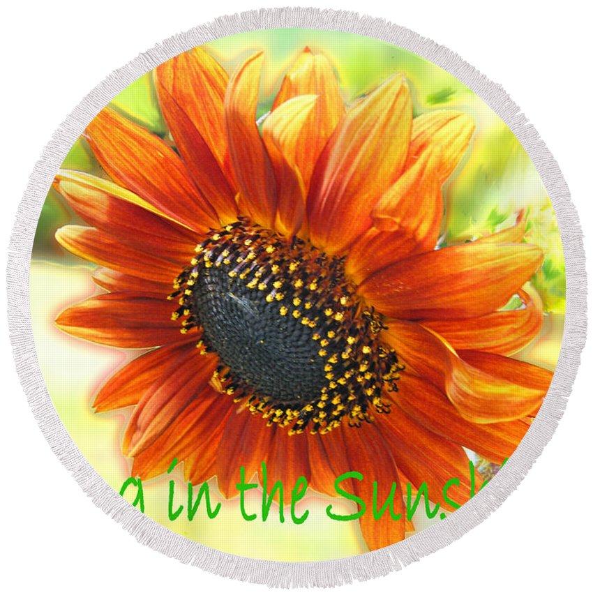 Greeting Card Round Beach Towel featuring the digital art Sing In The Sunshine by Lizi Beard-Ward