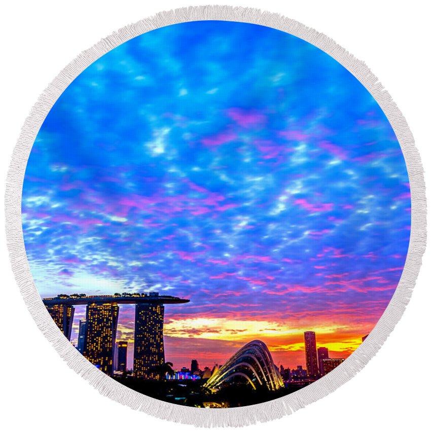 Singapore Round Beach Towel featuring the photograph Singapore Skyline by Jijo George
