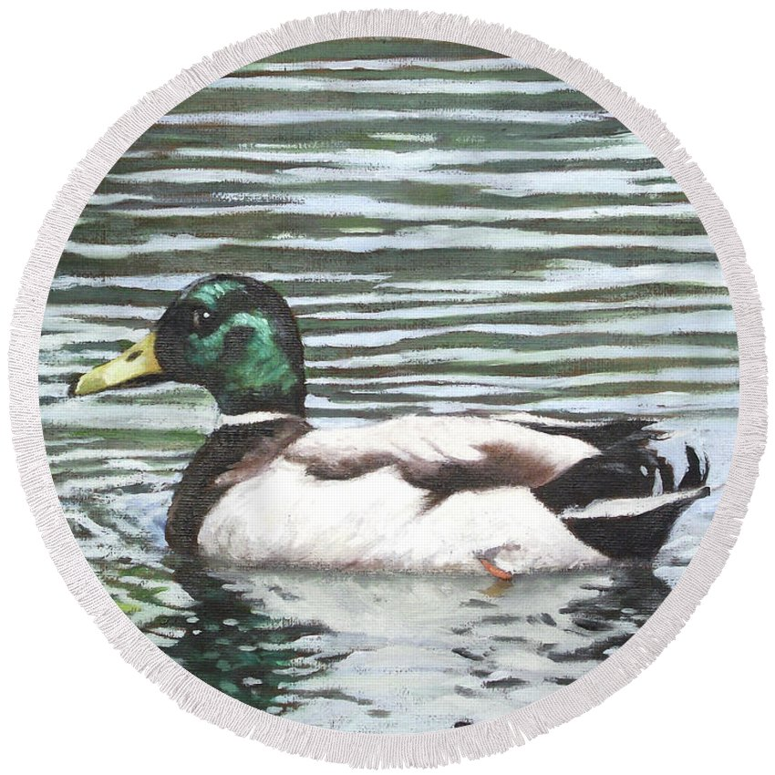 Mallard Round Beach Towel featuring the painting Single Mallard Duck In Water by Martin Davey