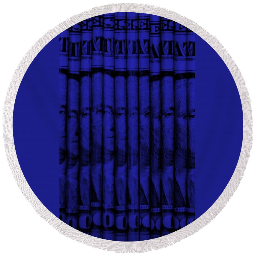Money Round Beach Towel featuring the photograph Singles In Blue by Rob Hans