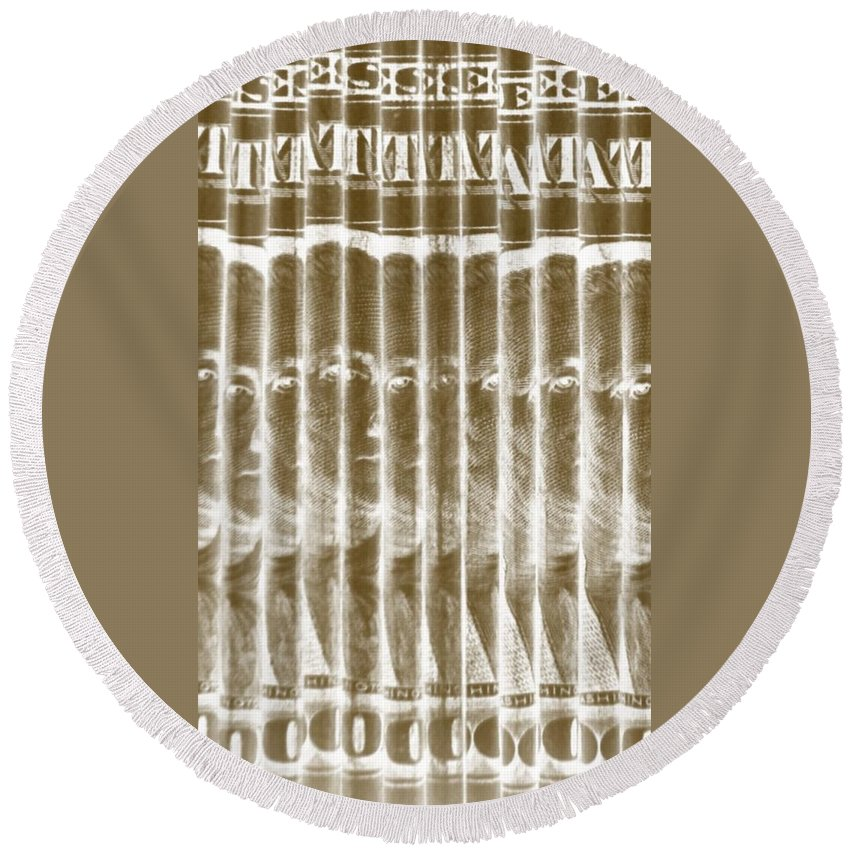 Money Round Beach Towel featuring the photograph Singles In Gold by Rob Hans
