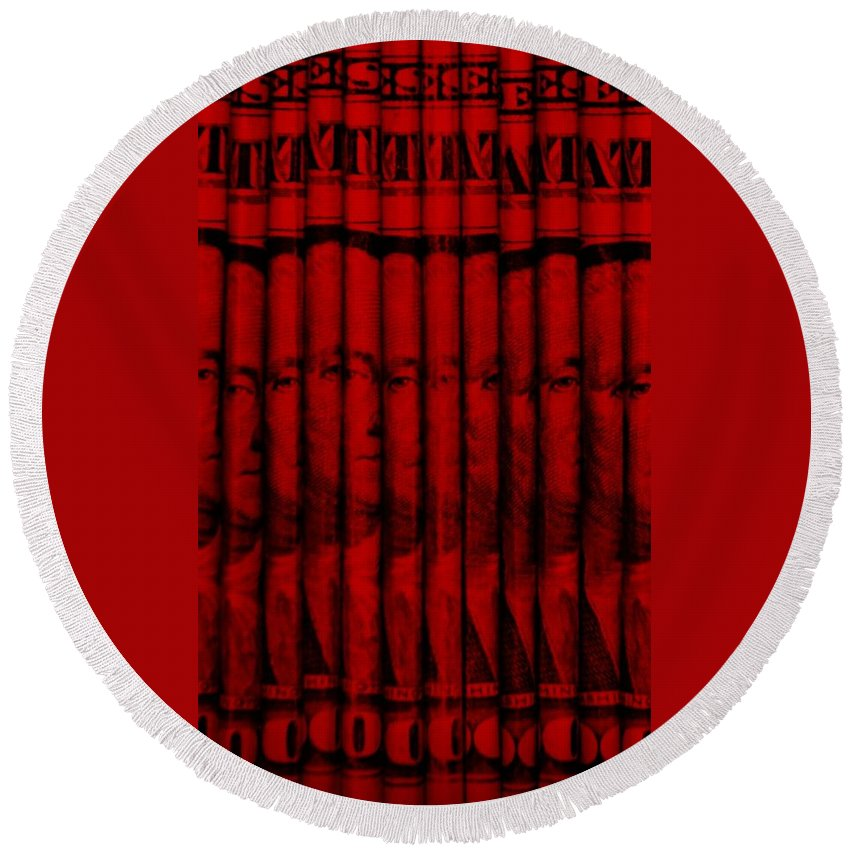 Money Round Beach Towel featuring the photograph Singles In Red by Rob Hans