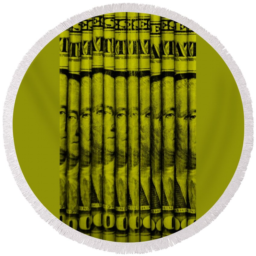 Money Round Beach Towel featuring the photograph Singles In Yellow by Rob Hans