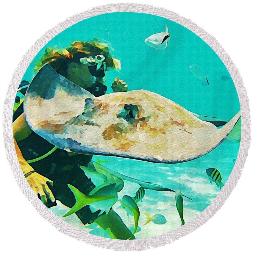 Singray City Cayman Islands Round Beach Towel featuring the painting Singray City Cayman Islands Four by John Malone