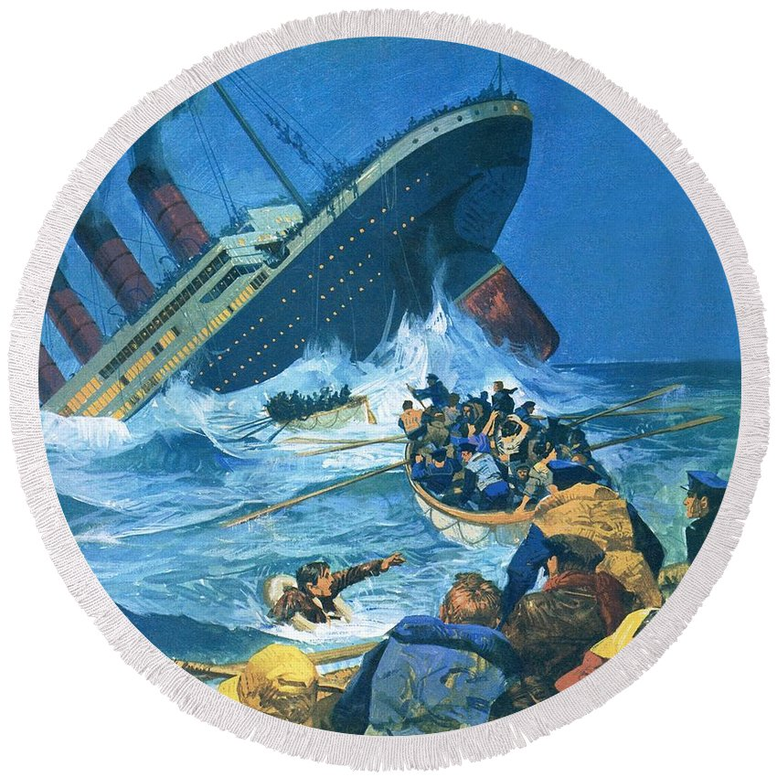 The Titanic Round Beach Towel featuring the painting Sinking Of The Titanic by English School