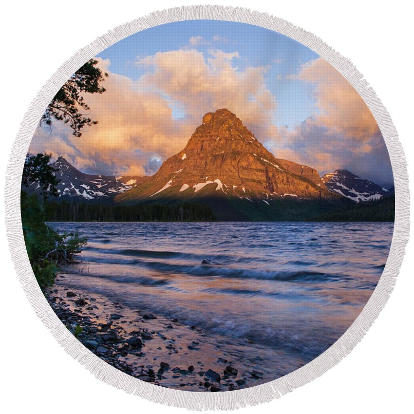 Mt Sinopah Round Beach Towel featuring the photograph Sinopah Rising by Jack Bell