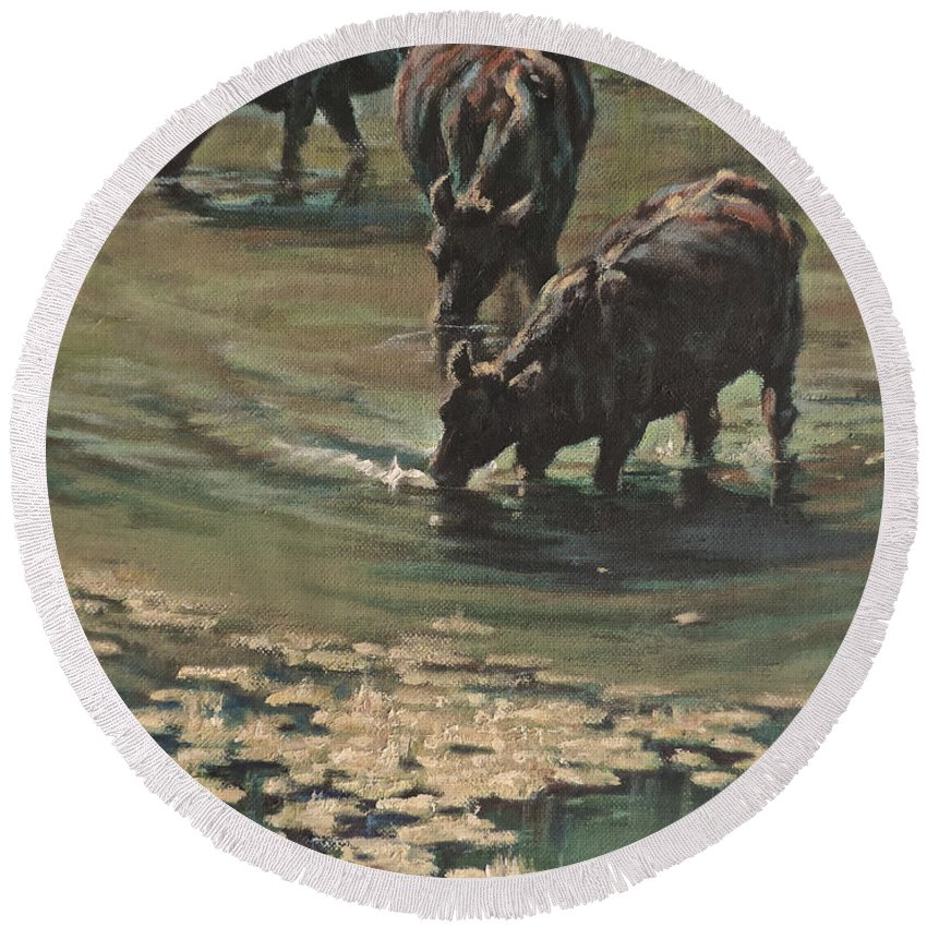 Cows Bovine Round Beach Towel featuring the painting Sip N Dip by Mia DeLode