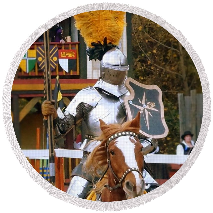 Fine Art Round Beach Towel featuring the photograph Sir Knight by Rodney Lee Williams