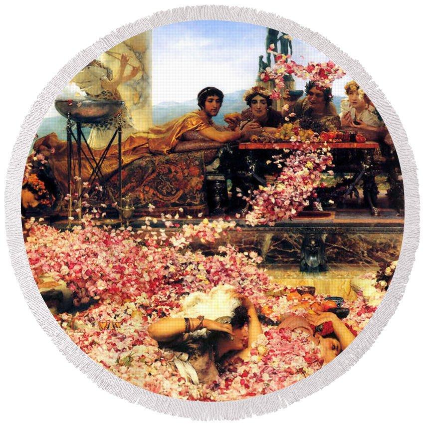 Sir Lawrence Alma Tadema Round Beach Towel featuring the digital art Sir Lawrence Alma Tadema by The Roses of Heliogabalus