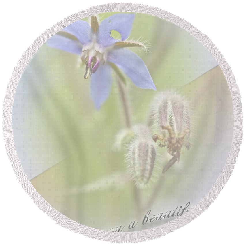 Greeting Round Beach Towel featuring the photograph Sister Birthday Greeting Card - Borage - Borage Officinalis by Mother Nature
