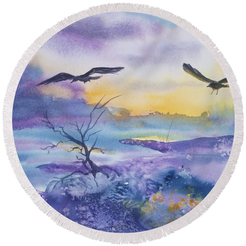 Ravens Round Beach Towel featuring the painting Sister Ravens by Ellen Levinson