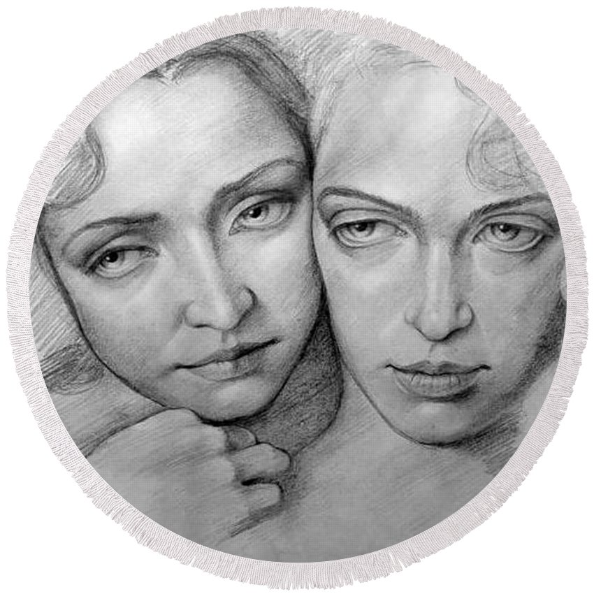 Woman Round Beach Towel featuring the drawing Sisterhood by Patrick Anthony Pierson