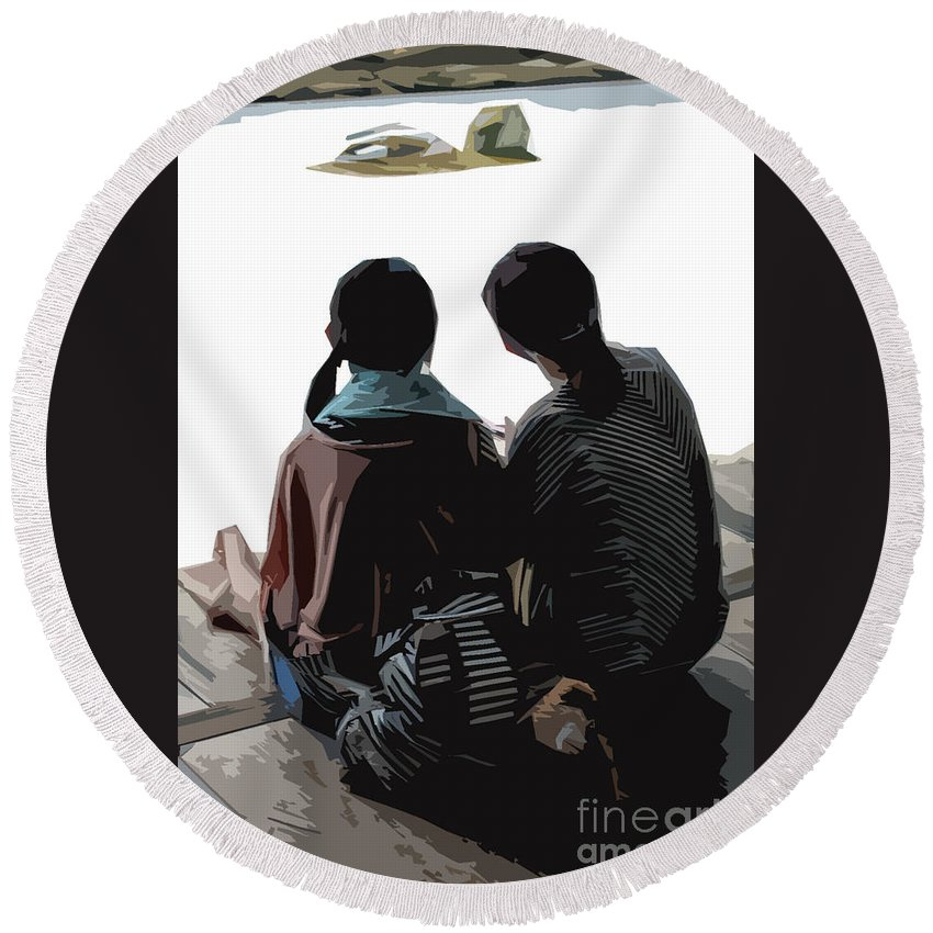 Sisters Round Beach Towel featuring the photograph Sisters At The Zen Garden by Stefan H Unger