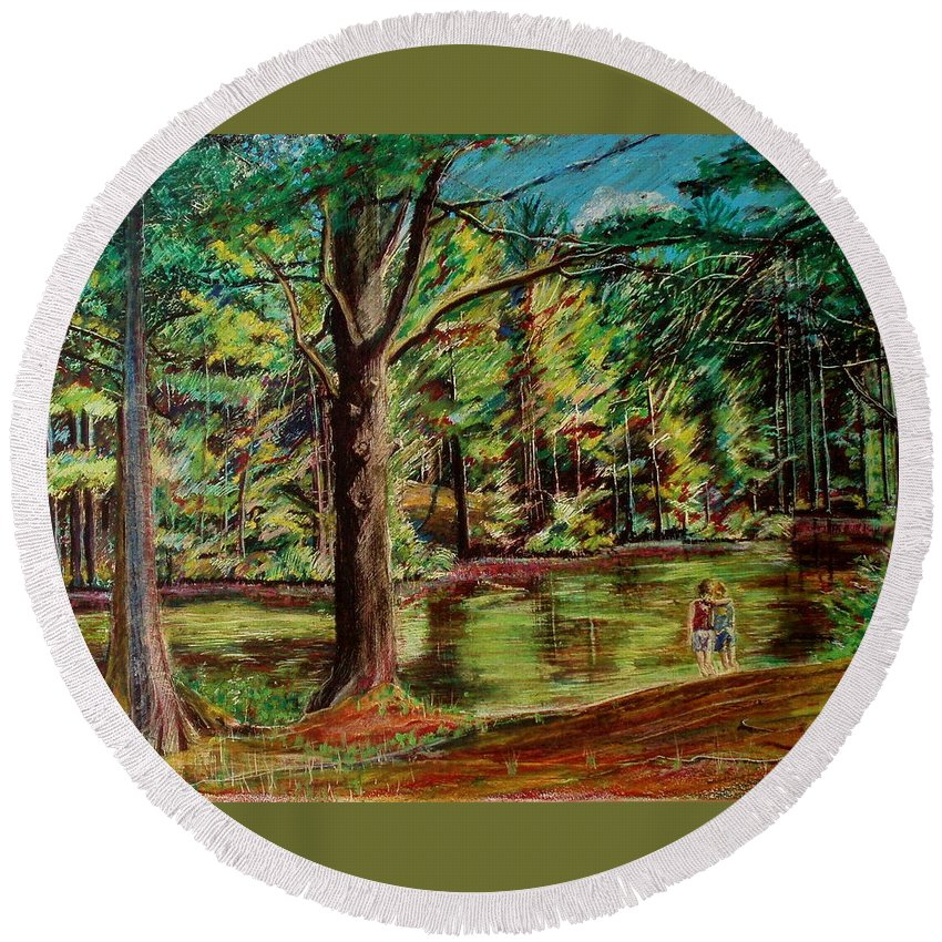 New Hampshire Round Beach Towel featuring the pastel Sisters At Wason Pond by Sean Connolly