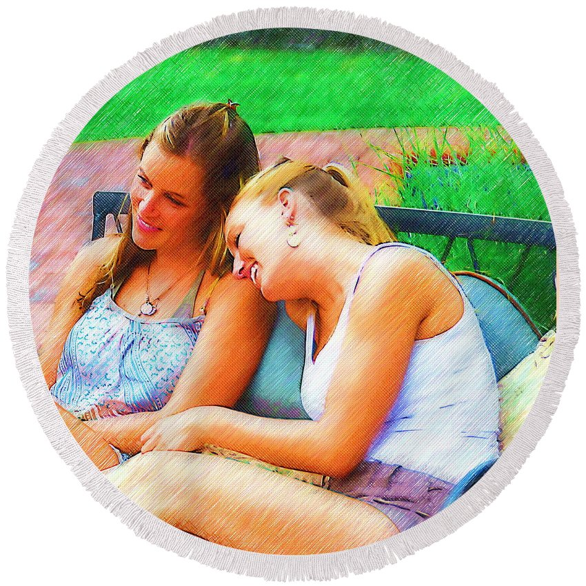 Sisters Round Beach Towel featuring the drawing Sisters by Richard Worthington