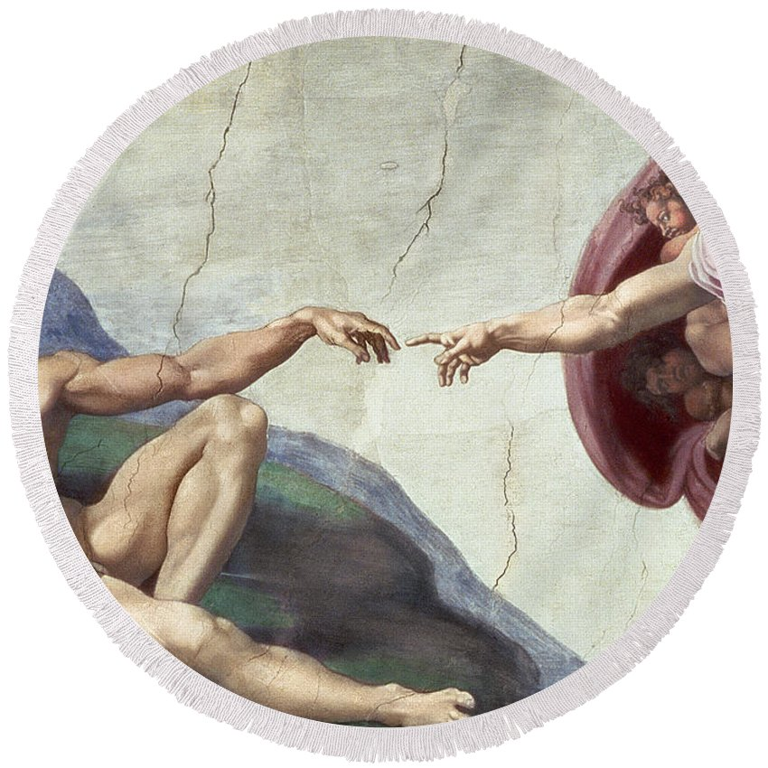 Renaissance Round Beach Towel featuring the painting Sistine Chapel Ceiling by Michelangelo Buonarroti