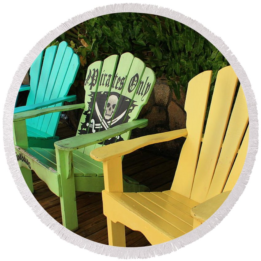 Beach Chairs Round Beach Towel featuring the photograph Sit At Your Own Risk by Catie Canetti