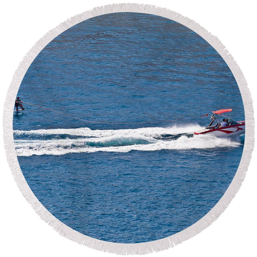 Water Round Beach Towel featuring the photograph Sit Down Hydrofoil Ski Sport by Brch Photography