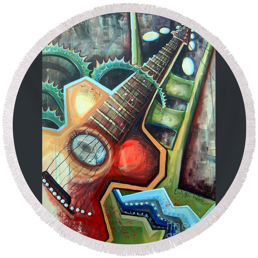 Music Round Beach Towel featuring the painting Sit Down Play by Linda Shackelford