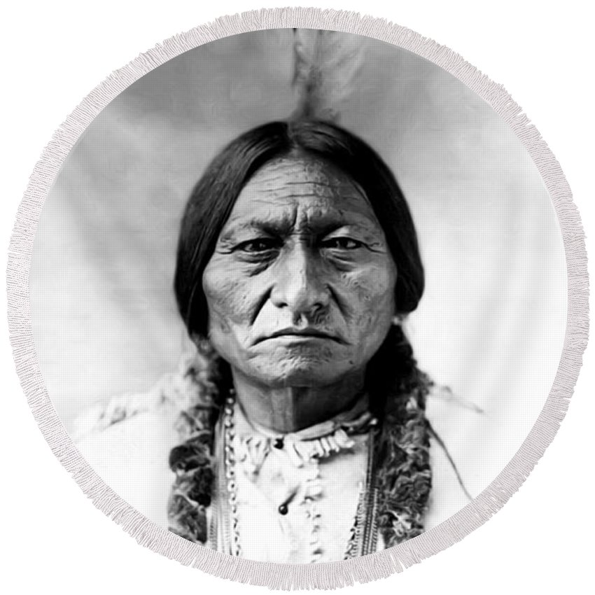 Sitting Bull Round Beach Towel featuring the photograph Sitting Bull by Bill Cannon