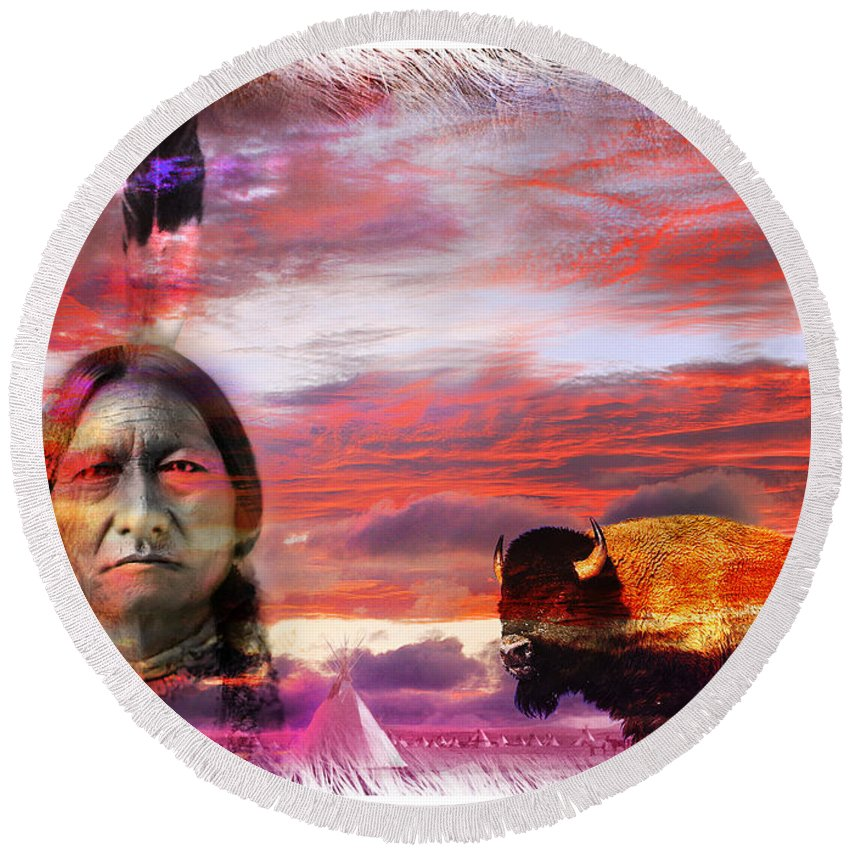 Sitting Bull Round Beach Towel featuring the photograph Sitting Bull by Mal Bray