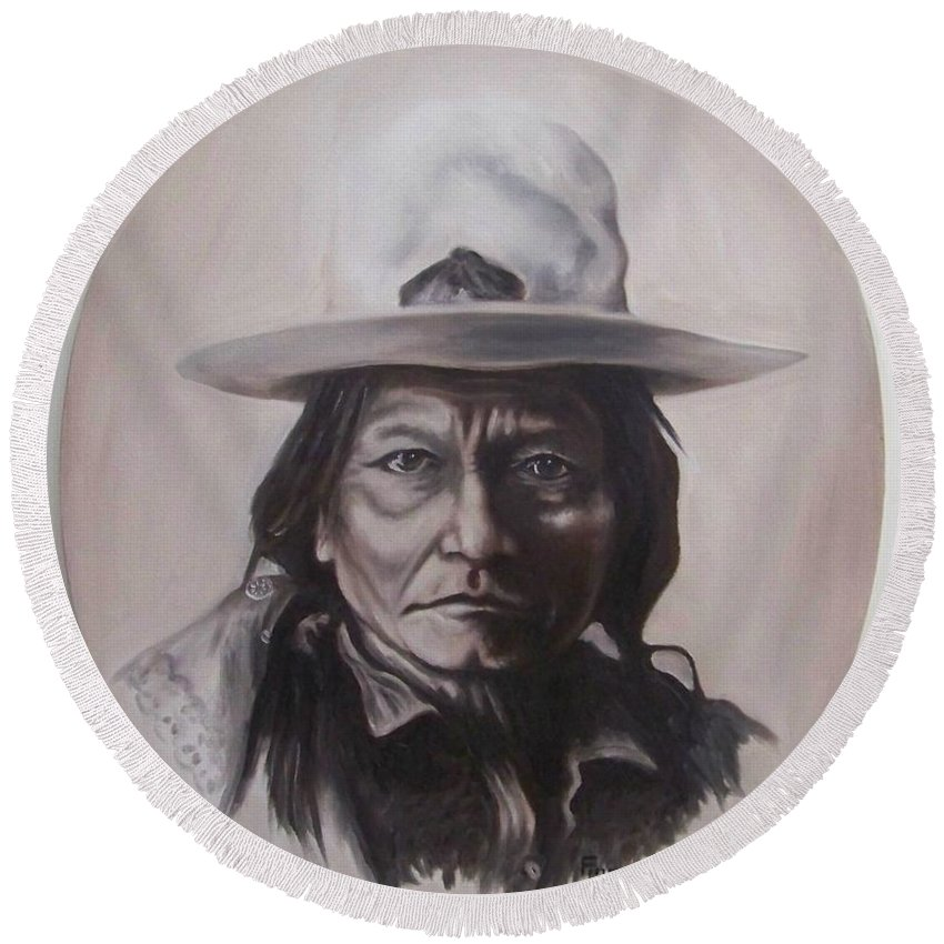 Michael Round Beach Towel featuring the painting Sitting Bull by Michael TMAD Finney