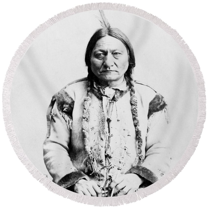 Native American Round Beach Towel featuring the photograph Sitting Bull by War Is Hell Store
