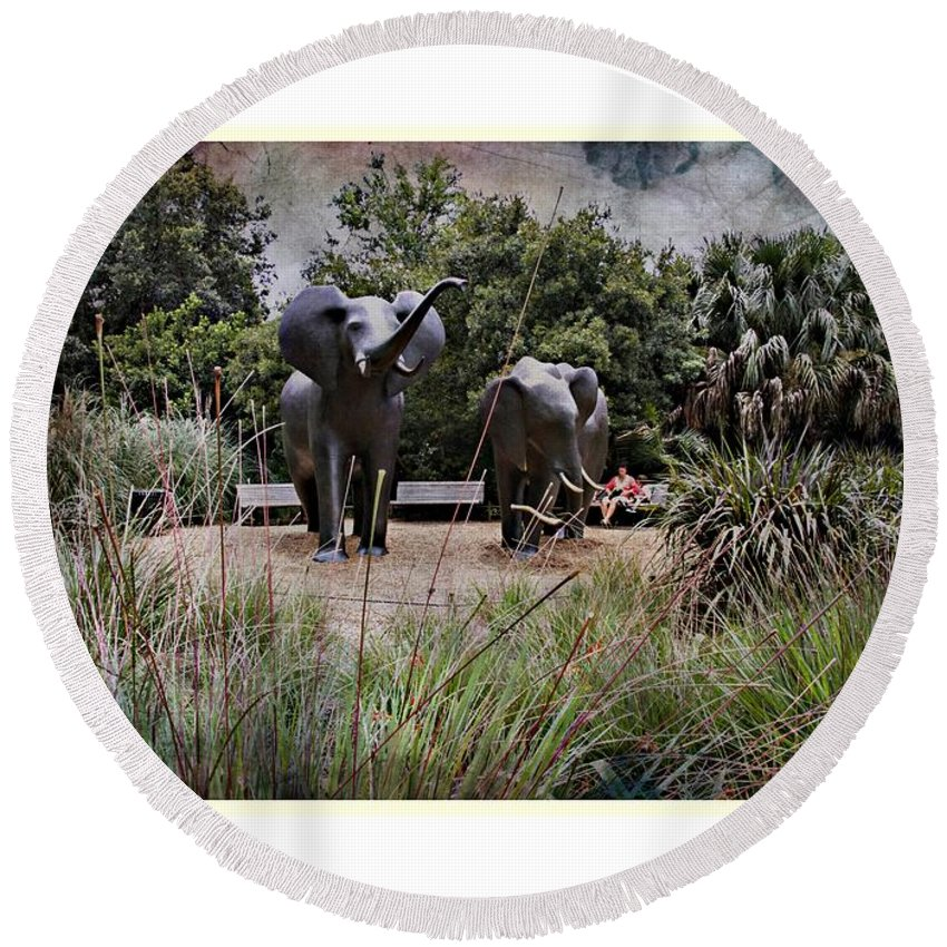 Elephant Statue Round Beach Towel featuring the photograph Sitting By The Elephants by Alice Gipson
