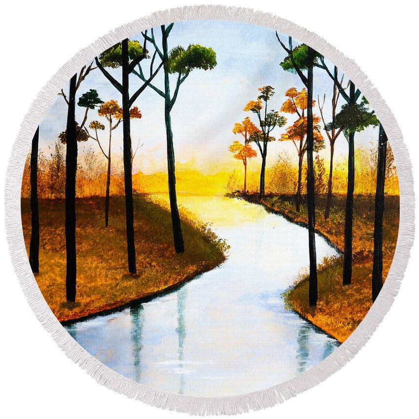 Lake Round Beach Towel featuring the painting Sitting By The Lake by Nirdesha Munasinghe