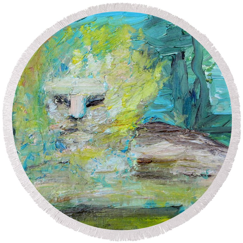 Lion Round Beach Towel featuring the painting Sitting Lion Oil Portrait by Fabrizio Cassetta