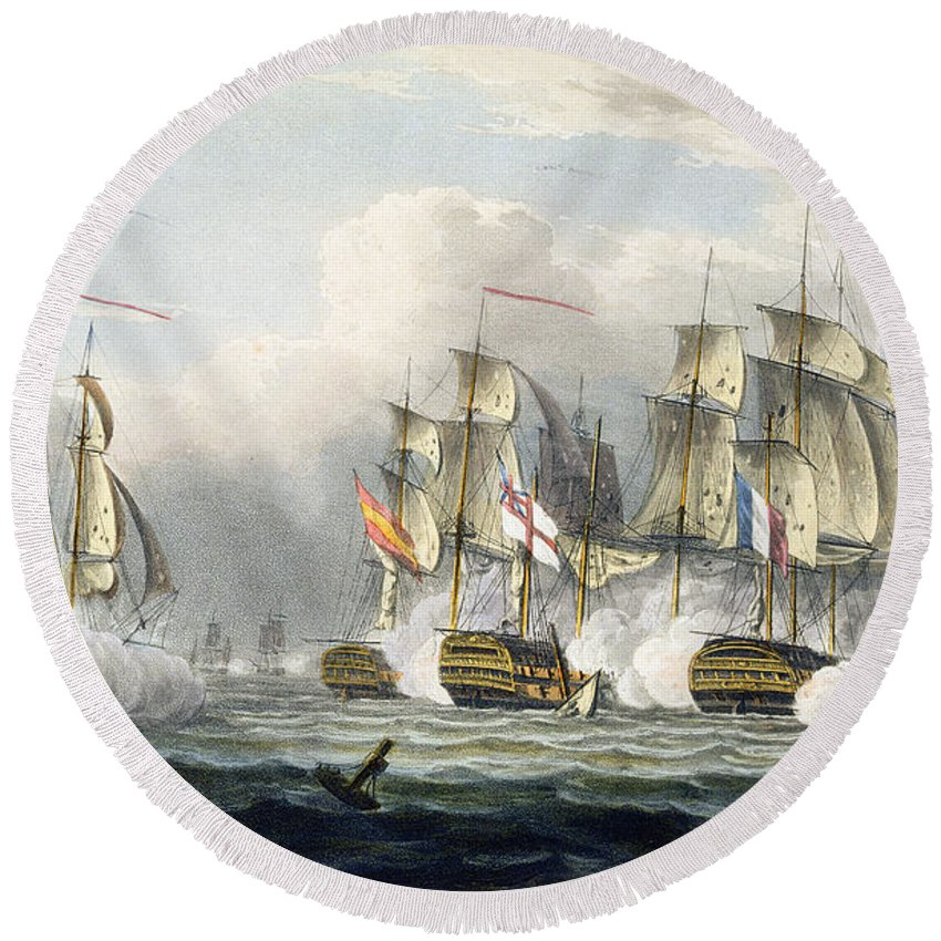 Naval Round Beach Towel featuring the painting Situation Of The Hms Bellerophon by Thomas Whitcombe