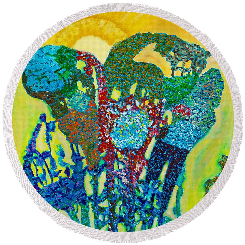 Augusta Stylianou Round Beach Towel featuring the painting Sixth Creation by Augusta Stylianou